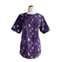 Ladybird Waterproof Dog Groomers & Bathers Jacket Purple with Poodle Print